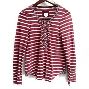 Anthropologie Postmark Striped Mixed Fabric Shirt